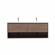 Avanity Sonoma 63 in. Wall Mounted Double Vanity in Restored Khaki Wood Finish with Integrated Vitreous China Top - SONOMA-VS63-RK