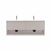 Avanity Sonoma 63 in. Wall Mounted Double Vanity in White Finish with Integrated Vitreous China Top - SONOMA-VS63-WT