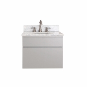 Avanity Tribeca 24 in. Wall Mounted Vanity in Chilled Gray Finish with Carrera White Marble Top - TRIBECA-VS24-CG-C