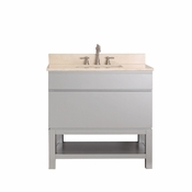 Avanity Tribeca 36 in. Vanity with Base in Chilled Gray Finish with Galala Beige Marble Top - TRIBECA-VSB36-CG-B