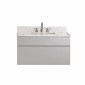 Avanity Tribeca 36 in. Wall Mounted Vanity in Chilled Gray Finish with Carrera White Marble Top - TRIBECA-VS36-CG-C