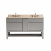 Avanity Tribeca 60 in. Vanity with Base in Chilled Gray Finish with Galala Beige Marble Top - TRIBECA-VSB60-CG-B