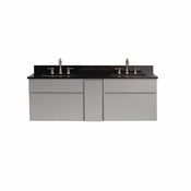 Avanity Tribeca 60 in. Wall Mounted Double Vanity in Chilled Gray Finish with Black Granite Top - TRIBECA-VS60-CG-A