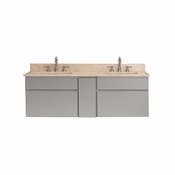 Avanity Tribeca 60 in. Wall Mounted Double Vanity in Chilled Gray Finish with Galala Beige Marble Top - TRIBECA-VS60-CG-B