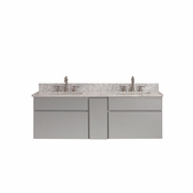 Avanity Tribeca 60 in. Wall Mounted Double Vanity in Chilled Gray Finish with Carrera White Marble Top - TRIBECA-VS60-CG-C