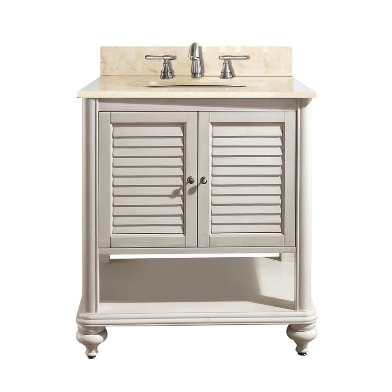 avanity tropica 25 in vanity in antique white finish with