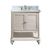 Avanity Tropica 25 in. Vanity in Antique Brown Finish with Carrera White Marble Top - TROPICA-VS24-AB-C