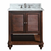 Avanity Tropica 31 in. Vanity in Antique Brown Finish with Carrera White Marble Top - TROPICA-VS30-AB-C