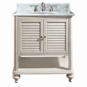 Avanity Tropica 31 in. Vanity in Antique White Finish with Carrera White Marble Top - TROPICA-VS30-AW-C