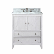 Avanity Westwood 31 in. Vanity in White Washed Finish with Carrera White Marble Top  - WESTWOOD-VS30-WW-C