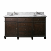Avanity Windsor 61 in. Double Vanity in Walnut Finish with Carrera White Marble Top - WINDSOR-VS60-WA-C