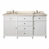 Avanity Windsor 61 in. Double Vanity in White Finish with Galala Beige Marble Top - WINDSOR-VS60-WT-B