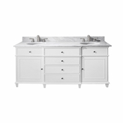 Avanity Windsor 73 in. Double Vanity in White Finish with Carrera White Marble Top - WINDSOR-VS72-WT-C