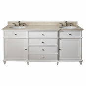 Avanity Windsor 73 in. Double Vanity in White Finish with Galala Beige Marble Top - WINDSOR-VS72-WT-B