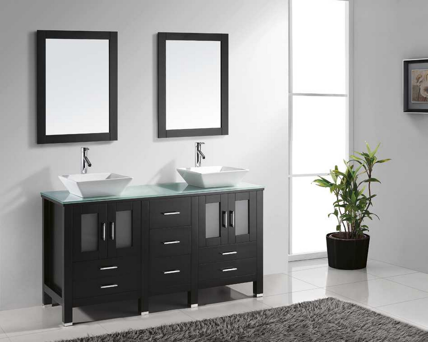 Virtu Usa Bradford 60 Double Bathroom Vanity Cabinet Set