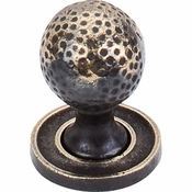 "Top Knobs - Britannia Collection - Paris Knob Mottled 1 1/16"" w/Backplate - Dark Antique Brass - M44"