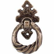 """Top Knobs - Britannia Collection - Tudor Pull 2 1/2"""" w/Vertical Backplate - German Bronze - M4V"""