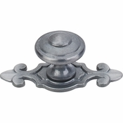"Top Knobs - Britannia Collection - Canterbury Knob 1 1/4"" w/Backplate - Pewter Light - M30"