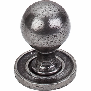 "Top Knobs - Britannia Collection - Paris Knob Smooth 1 1/16"" w/ Backplate - Cast Iron - M50"