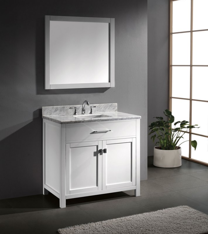 Virtu usa caroline 36 single bathroom vanity in white for Virtu usa caroline 36 inch single sink bathroom vanity set