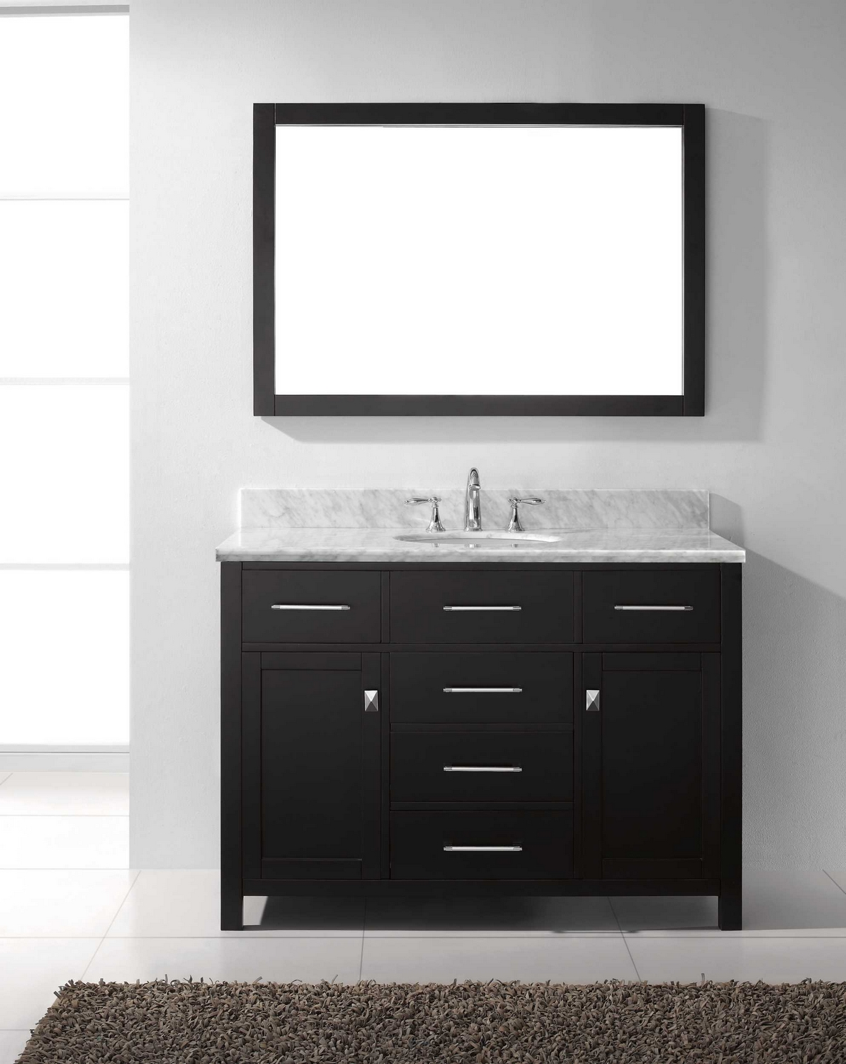 virtu usa caroline 48 single bathroom vanity cabinet set in espresso