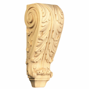 01609001HM1 Full Acanthus Wood Corbel Hard Maple