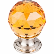 "Top Knobs - Crystal Collection - Amber Crystal Knob 1 1/8"" w/ Brushed Satin Nickel Base - TK111BSN"