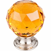 "Top Knobs - Crystal Collection - Amber Crystal Knob 1 3/8"" w/ Brushed Satin Nickel Base - TK112BSN"