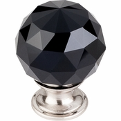 "Top Knobs - Crystal Collection - Black Crystal Knob 1 3/8"" w/ Brushed Satin Nickel Base - TK116BSN"
