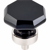 "Top Knobs - Crystal Collection - Black Octagon Crystal Knob 1 3/8"" w/ Brushed Satin Nickel Base - TK137BSN"