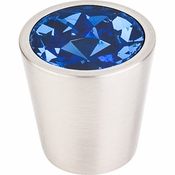 "Top Knobs - Crystal Collection - Blue Crystal Center Knob 1 1/16"" w/ Brushed Satin Nickel Shell - TK131BSN"