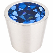 "Top Knobs - Crystal Collection - Blue Crystal Center Knob 3/4"" w/ Brushed Satin Nickel Shell - TK132BSN"