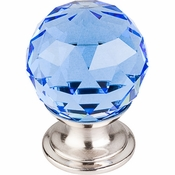 "Top Knobs - Crystal Collection - Blue Crystal Knob 1 1/8"" w/ Brushed Satin Nickel Base - TK123BSN"