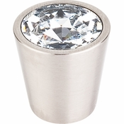 "Top Knobs - Crystal Collection - Clear Crystal Center Knob 1 1/16"" w/ Brushed Satin Nickel Shell - TK135BSN"