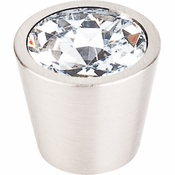 "Top Knobs - Crystal Collection - Clear Crystal Center Knob 3/4"" w/ Brushed Satin Nickel Shell - TK136BSN"