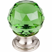 "Top Knobs - Crystal Collection - Green Crystal Knob 1 1/8"" w/ Brushed Satin Nickel Base - TK119BSN"