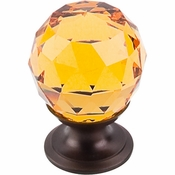 "Top Knobs - Crystal Collection - Amber Crystal Knob 1 1/8"" w/ Oil Rubbed Bronze Base - TK111ORB"