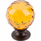 "Top Knobs - Crystal Collection - Amber Crystal Knob 1 3/8"" w/ Oil Rubbed Bronze Base - TK112ORB"