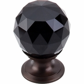"Top Knobs - Crystal Collection - Black Crystal Knob 1 1/8"" w/ Oil Rubbed Bronze Base - TK115ORB"