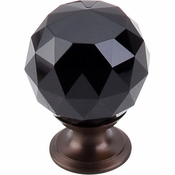 "Top Knobs - Crystal Collection - Black Crystal Knob 1 3/8"" w/ Oil Rubbed Bronze Base - TK116ORB"