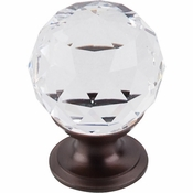 "Top Knobs - Crystal Collection - Clear Crystal Knob 1 1/8"" w/ Oil Rubbed Bronze Base - TK125ORB"
