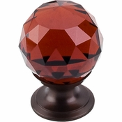 "Top Knobs - Crystal Collection - Wine Crystal Knob 1 1/8"" w/ Oil Rubbed Bronze Base - TK121ORB"