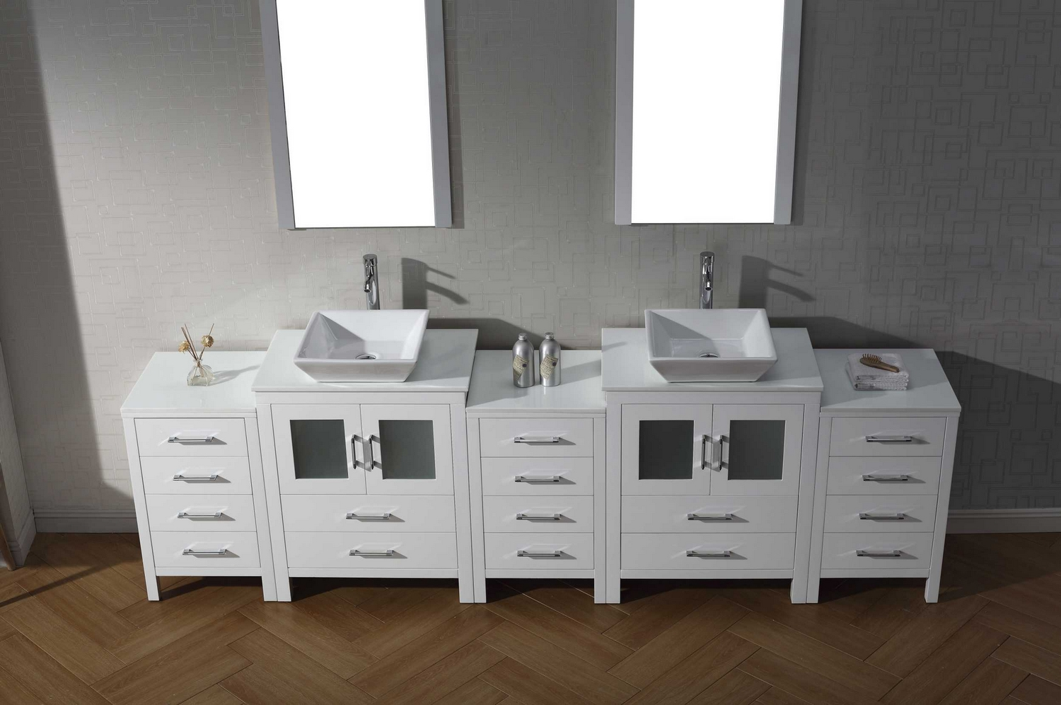 Virtu Usa Dior 110 Double Bathroom Vanity Cabinet Set In