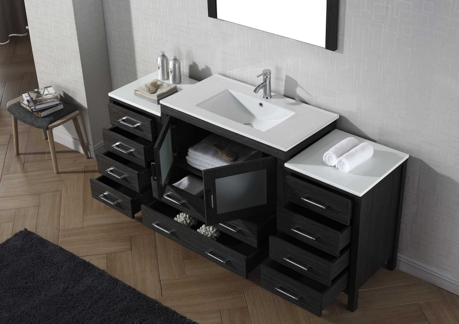 Virtu Usa Dior 72 Single Bathroom Vanity Cabinet Set In