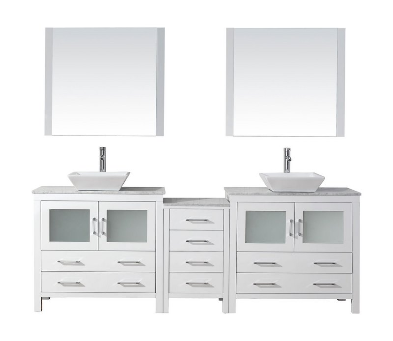 Virtu usa dior 78 double bathroom vanity in white with marble top and square sink with for 78 double sink bathroom vanity