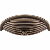 "Top Knobs - Edwardian Collection - Ribbon & Reed Cup Pull 3"" (c-c) - German Bronze - M939"