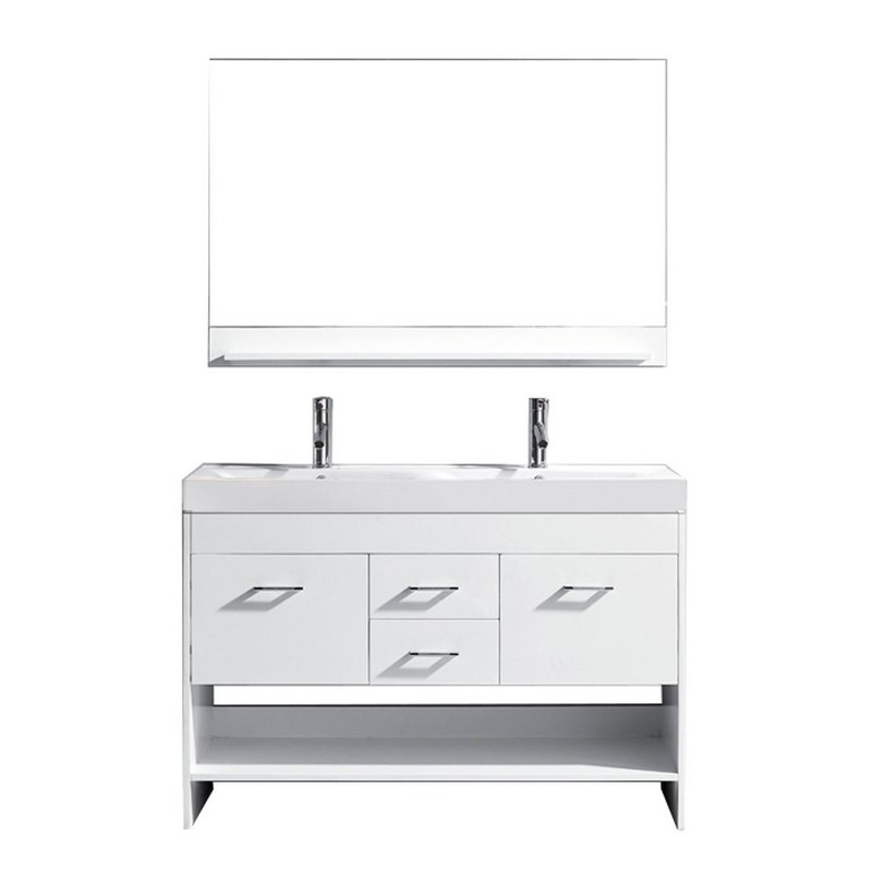 virtu usa gloria 48 double bathroom vanity in white with white ceramic top and square sink. Black Bedroom Furniture Sets. Home Design Ideas