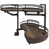 "Hardware Resources - 15"" Blind Corner Swing Out, Right Handed Unit. - Walnut - BCSO215BOWD-RH"