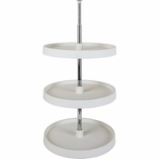 "Hardware Resources - 18"" Diameter Round Plastic Lazy Susan Set with Twist and Lock Adjustable Pole. - PLSR2318"