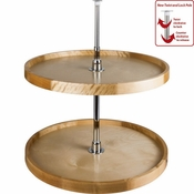 "Hardware Resources - 18"" Diameter Round Wood Lazy Susan Set with Twist and Lock Adjustable Pole. - Birch - LSR218-SET"